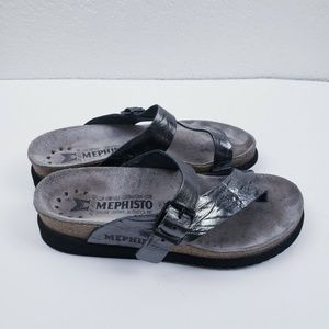 MEPHISTO Helen Silver Leather Buckle Strap sandals